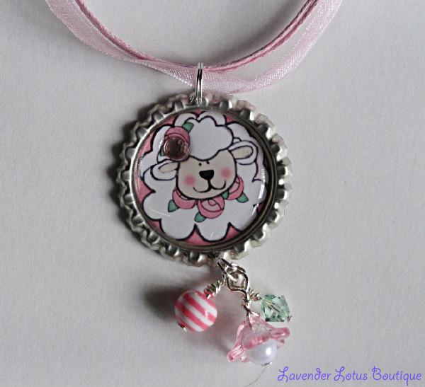 Little Lambkin-Lamb,bottlecap necklace,necklace,ballchain,pink ribbon,bling,lucite flower,acrylic beads,beads,gift,pearl,crystal,swarovski,rhinestone,cute