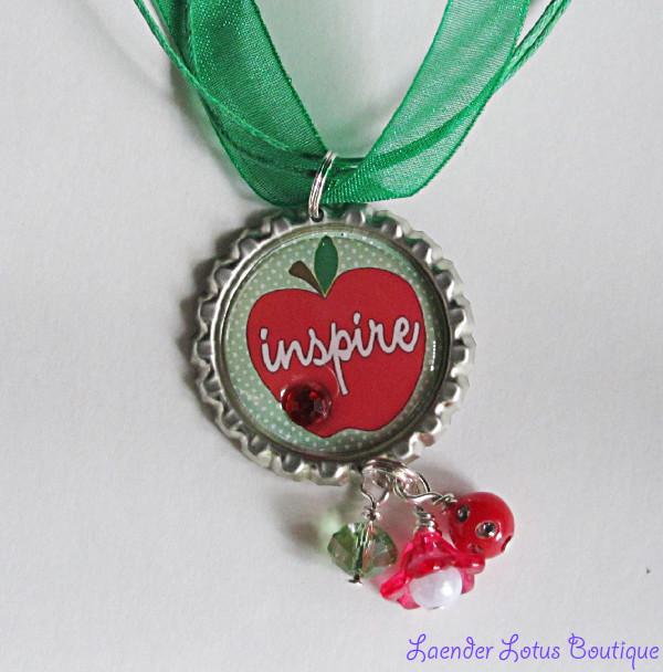 Inspire-Inspire, red, green, apple, teacher, pendant, necklace, silver, ballchain, ribbon, bling, bead, lucite, flower, acrylic, gift, special, swarovski, crystal, pearl