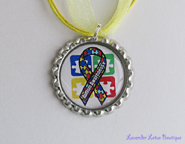 Autism Awareness II-Autism awareness, awareness, research, pendant, necklace, green, yellow, ballchain, ribbon, gift, silver, ballchain,support