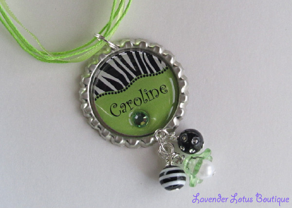 Personalized Zebra Stripe and Lime Green-Personalized, zebra, lime green, necklace,bottlecap, ribbon, ballchain, swarovski crystals, bling, acrylic lucite flower, dangles, pearl, gift, fun