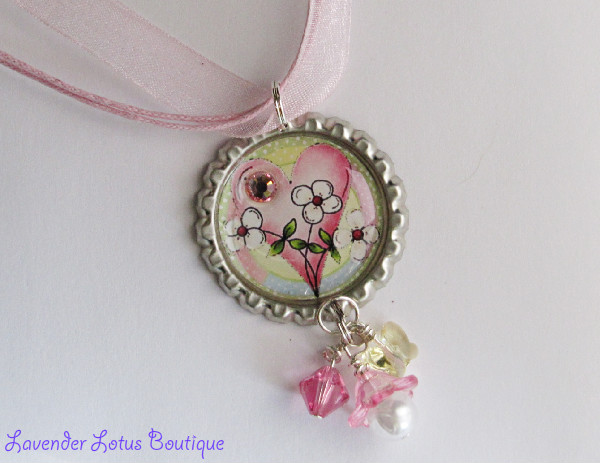 Heart and Flowers-heart, flowers, necklace spring, summer, wardrobe, pendant, crystal, rhinestone, bling, bead, swarovski, pearl, lucite, flower, ballchain, ball chain, gift, birthday, girl, special, adorable, bottlecap, heart and flowers necklace, bottlecap necklace,