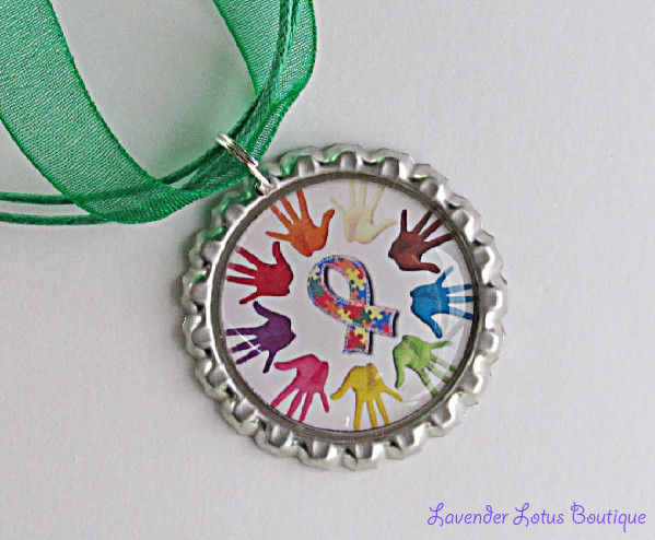 Autism Awareness Hands Around the World-Autism awareness, awareness, autism, support, research, pendant, necklace, colorful, ribbon, puzzlepiece, silver, ballchain, green,