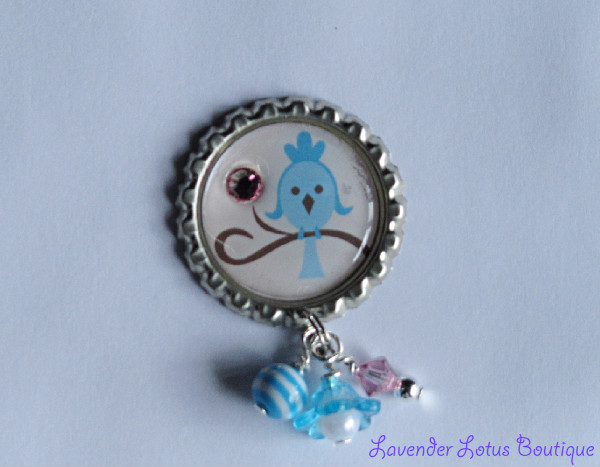 Little Bluebird Pin-pin, brooch, broack, gift, Spring, bird, bluebird, jewelry, silver, crystal rhinestone, bead bundle, beads, swarovski crystal
