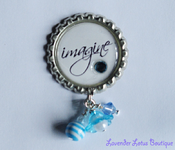 Imagine Pin-pin, brooch, broach, imagine, gift, swarovski crystal, crystal, lucite, flower, beads, jewelry