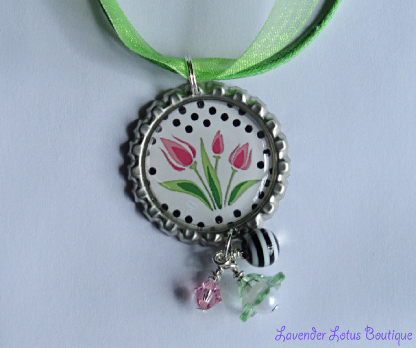 Spring Tulip Necklace-spring, tulips, necklace, gift, silver, lime green, hot pink, pink, bottlecap, swarovski crystal, acrylic pearl, lucite, gift, mother, sister, friend silver ballchain necklace, bottlecap necklace, spring necklace, tulip necklace