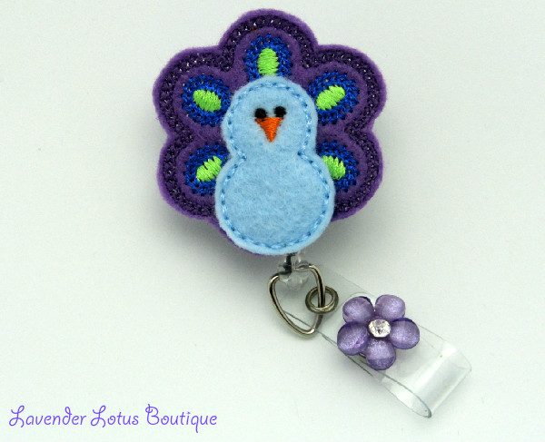 A Passion for Peacocks-retractable, badge, reel, id, peacock, flower, rhinestone, ebroidered, purple, green, classic, classy, soft, retractable badge reel, retractable id reel, retractable id clip, badge reel lanyard, peacock badge reel, peacock id pull, unique badge reels, designer badge reels, fun id reels, cute badge pulls, nurse gift, teacher gift, office gift, badge reel gifts