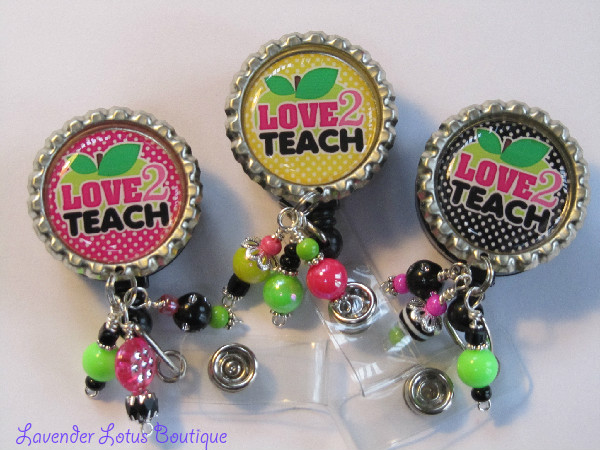 Love 2 Teach-retractable, badge, reel, id, teacher, brights, apple, pink, black green, yellow, beads, acrylic, rhinestone, crystal, fun, unique, creative, handmade, retractable badge reel, retractable id reel, retractable id holder, badge reel, id reel, id holder, credential holder, fun badge reel, fun id reel, fun id pull, retractable id pull, beaded badge reels, beaded id pulls, beaded id reels, teacher id badges, teacher id reels, teacher id pulls, handmade badge reels, handmade id pulls, conference id reels, conference id pulls, conference badge reels, educator badge reels, educater id reels, educatior id pulls, teacher gift, educator gift, school gift, fun teacher gift, apple badge reel, apple id reels, apple id pulls