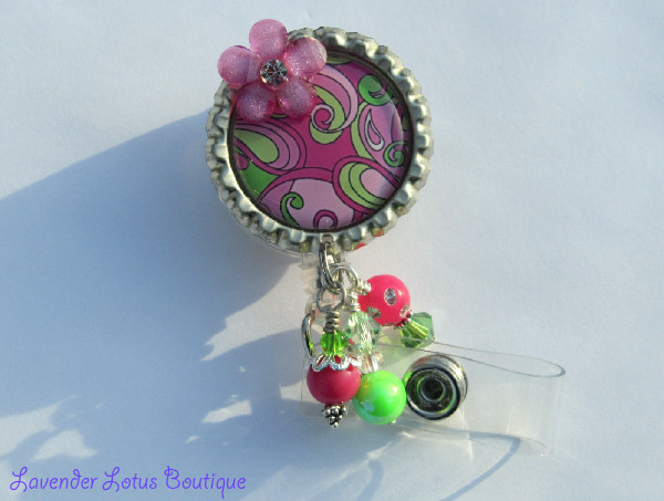 Pink and Green Paisley-retractable, badge reel, id reel, id holder, badge holder, badge pull, id pull, paisley, unique, fun, colorful, beads, handmade, 3-dimensional, retractable badge reel, retractable id reel, retractable badge pull, id badge reel, unique badge reels, designer badge reels, fun badge reels, nurse badge reels, teacher badge reels, office badge reels, fun badge reels, medical badge reels,