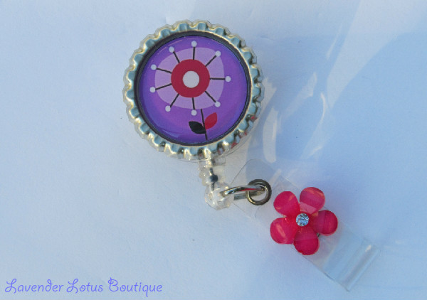 Pink and Purple Posie-retractable, posie, flower, unique, fun, charming, badge, reel, id, badge reel, id reel, badge pull, id pull, retractable badge reel, retractable id reel, retractable badge pull, flower badge reel, posie badge reel, unique badge reel, fun badge reel, nurse badge reel, teacher badge reel, office badge reel, unique gift, fun gift