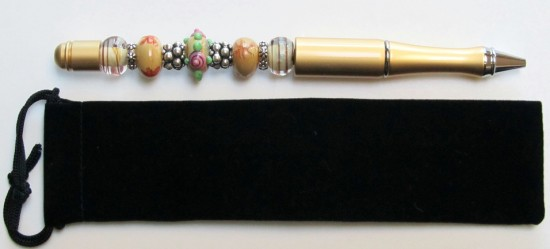 Brushed Gold Elegance-gold,pen,gift,beads,lampwork,rhinestone,chic,vintage,blue,black,ink,bumpy,silver,spacers,swirls,opaque,floral,velvet,quality