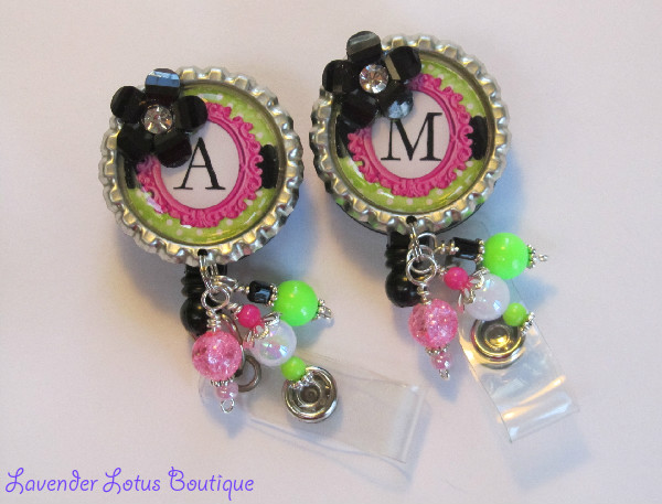 Personalized Pop of Colour-retractable, badge, reel, id, monogram, personalized, beaded, beads, rhinestone, acrylic flower, badge reels, id reels, id holders, retractable badge reel, monogrammed badge reel, personalized badge reel, beaded badge reel, unique badge reel, designer badge reel, id badge reel badge holder badge reel gifts badge reel lanyard, nurse badge reel, teacher badge reel, office badge reel, unique badge reels, fun badge reels