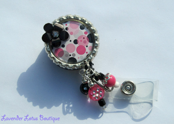 Tiny Bubbles-retractable, badge, reel, id, reel, credentials, holder, teacher, office, school, nurse, hospital, pink, black, silver, beads, flower, fun, unique, original, retractable id reel, retractable badge reel, fun badge reel, fun id reel, unique badge reel, unique id reel, unique gift, office gift, nurse gift, teacher gift, beaded badge reels, dimensional badge reels
