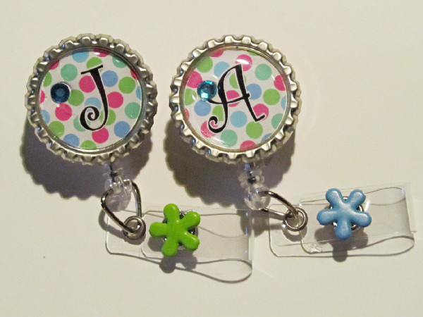 Personalized Polka Dot Pop-Pop,polka dot,badge reel,badge id,retractable reel,slide clip,pinch clip,purple,pink,bling,flower,sunshine,greatgift,gift,nurse,hospital,healthcare,teacher,initial,monogram