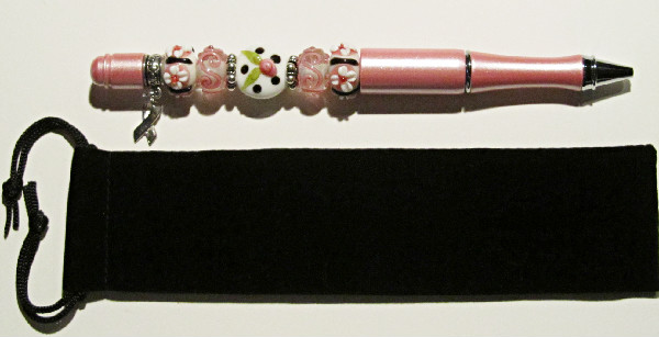 Breast Cancer Awareness II-breast,cancer,awareness,beadpen,pink,white,flower,silver,ink,black,blue,cure battle,shiny,elegant,gift,glass,lampwork,beads