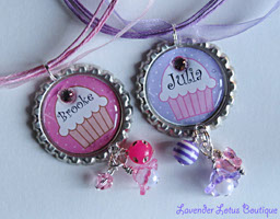 Personalized Pink or Purple Cupcake-personalized pink necklace cupcake bottlecap beads bling sworavski crystals ribbon ballchain silver gift love girl purple pink cupcake pearl luciteflower