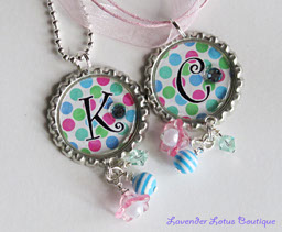 PAIR of Polka-Dot BFF Necklaces-BFF, chain, necklace,ball,ribbon,pink,silver,sworvski,crystals,rhinestones,gift,beads,balls,bling,best friend,friend,girl,bottlecap,charm,water resistant