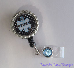 Polka Dot Blue-badge reel, id reel, medical, gift, blue, black, polka dot, nurse, doctor, hospital, employee, credentials, charm swarovski, crystal, classic, classic medical badge reel, medical id reel with bling, fun badge reel, nurse badge reel