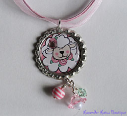 Little Lambkin-Lamb,bottlecap necklace,necklace,ballchain,pink ribbon,bling,lucite flower,acrylic beads,beads,gift,pearl,crystal,swarovski,rhinestone,cute