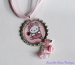 Hello Kitty Ballet-Hello Kitty, ballet, necklace, bottlecap, beads, bling, pink, acrylic, silver, ballchain, ribbon, tutu, girl, special, gift, swarovski, crystal, pearl