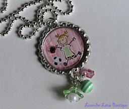Soccer Chick-Soccer, chick, necklace, bottlecap, ballchain, silver, pink, ribbon, white, ribbon, gift, bling, swarovski, crystal, beads