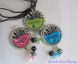 Personalized Zebra Stripe 'n Brites-bottlecap, necklace, silver, ballchain, ribbon, green, blue, pink, zebra stripe, personalized, ribbon, beads, lucite, bling, swarovski, crystals, gift, birthday, girls, teens, tweens, bottlecap necklace, personalized bottlecap necklace, personalized gift