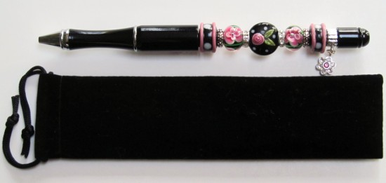 Black Rose-pen, beads, lampwork, black, ink, beautiful, metal, flowers,pens,  rhinestones, gift, dots, chic,silver,gifts,velvet,blue