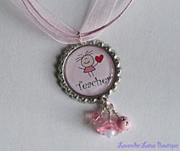 Teacher with Heart-Teacher, heart, necklace, red, pink, beads, bling, silver, pink, acrylic, lucite, flower, charm, pendant, ballchain, ribbon