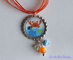 Summer Fun-Summerfun  silver ballchain necklace orange seashore summer fish crab blue bottlecap pendant bling swarovski crystal beads silver gift ribbon