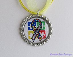 Autism Awareness II-Autism awareness, awareness, research, pendant, necklace, green, yellow, ballchain, ribbon, gift, silver, ballchain,support