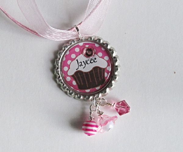Personalized Cupcake-Personalized cupcake necklace, necklace, silver, ballchain, pink, bling,rhinestone,gift, fun, sweet, cute, swarovski, crystal, acrylic pearl, lucite flower