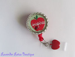 Apple Inspiration-retractable, badge reel, badgereel, id, id reel, idreel, red, teacher, apple,inspiration, school, credentials, teacher retractable badge reel, school retractable badge reels, teacher fun badge reels, teacher gifts