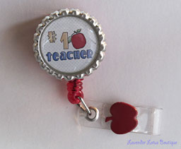 1 Teacher Badge Reel-retractable badge reel, badge reel, idreel,  teacher, red, charm, class, gift, conference,
