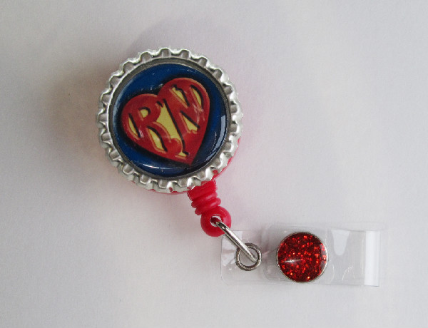 Super RN with Heart-Super,RN,badgereel,medical,nurse,teacher,red,retractable,blue,gold,idbadge,gift,crecentials
