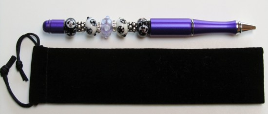 Purple and Black-purple, black, white, rhinestone, pen, metal, bead, silver, ink, unique, gift, velvet,pens, beads