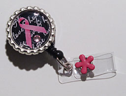 Love and Hope Awareness Ribbon-Black,pink,breast cancer,ribbon,hope,love,badgereel,idreel,nurse,healthcareworker,teacher,bling,pink,crystal,gift,retractable