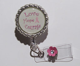 Love,Hope,Courage-Love,Hope,Courage,clear,breast cancer awareness,cancer,awareness,pink,green,retractable badgereel,idreel,nurse,healthcare worker,teacher,gift,ribbon