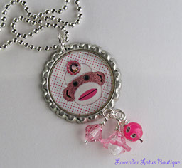 Sock Monkey-Sock monkey, bottlecap,necklace,pink,bling,rhinestone,gift,ball chain, swarovski, bead,bling,
