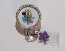 RN Flower-RN,flower,badgereel,idreel,pink,purple,yellow,bling,clip on,slide on,nurse,teacher,gift,healthcare worker