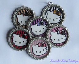 Hello Kitty Party Favors 6-pack-Hello Kitty, necklace, silver, ballchain, gift, bling, crystal, birthday, gift, bottlecap necklace, Hello Kitty necklace, silver ballchain necklace