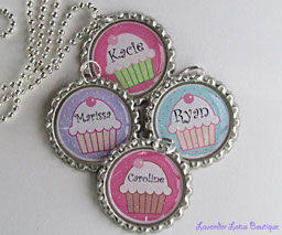 Personalized Cupcake Necklace II - Great Party Favors-Personalized, cupcake necklace, necklace, silver, ballchain, gift, polka dot, solid, bottlecap, party, favor, birthday, girl, special day, guests, sealer, sparkle, bling, glitter