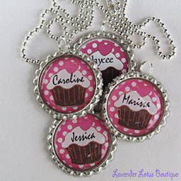 Personalized Cupcake Pendant - Great Party Favors-Personalized, cupcake, necklace, party, bottlecap, girl, ballchain, ribbon,name, party, six, special, gift, party favor,