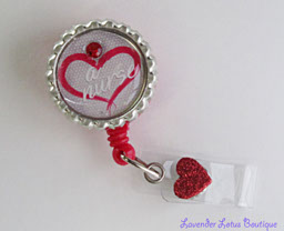 Love a Nurse-Love,nurse,red,gift,badgereel,idreel,retractable,cute,pendant,charm,special,elegant,gift,fun,crystal,slide on,clip,special