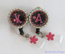 Personalized Black and Hot Pink-Hot pink, pink, black, initial, bling, Swarovski, crystal, id reel, badge reel, retractable, personalized, gift,