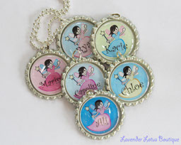 Personalized Fairy Princess - Great Party Favors!-fairy, princess, party, bottlecap, necklace, personalized, silver, ballchain, gift, birthday, fairy princess necklace, bottlecap necklace, personalized necklace, party favaor necklaces