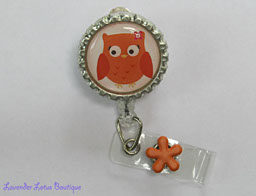Little Orange Hoot-Owl-retractable, badge, id, reel, orange, owl, fun, gift, nurse, teacher, fun retractable badge reel, creative retractable badge reel, teacher gift, nurse gift, retractable badge reel gift