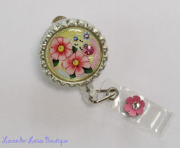 Pretty Pink Flowers-retractable, badge, reel, id, badgereel, idreel, flower, Swarovski, crystal, pink, rhinestone, gift, credentials, work, school, hospital, worker, fun, cute, fun retractable badge reel, cute retractable badgereel gift