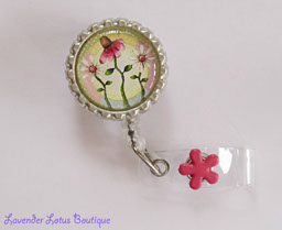 Summer Daisy Trio-retractable, badge, reel, id, reel, summer, daisy, gift, pastel, pink, credentials, nurse, teacher, hospital, school, work, retractable badge reel, retractable id reel, nurse gift, teacher gift, unique gift