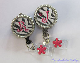 Personalized Hot Pink Zebra-retractable, badge, reel, zebra, personalized, id, badgereel, idreel, Swarovski, crystal, pink, black, bling, rhinestone, fun, gift, nurse, teacher, credential strap, personalized retractable badgereel, zebra badgereel, fun retractable badge reel, fun personalzied badge reel