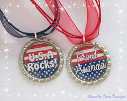 American Spirit-American, Spirit, bottlecap, necklace, red, white, blue, independence, fourth of July, holiday, gift