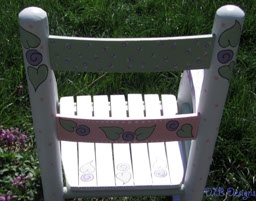 Beautifully Hand Painted Childs Rocking Chair-wood, rocker, rocking, chair, paint, acrylic, pink, lavender, green, white, gift, toddler, child, cherished, unique, personalized, acrylic, baby, whimsical, baby shower gift, child gift, toddler gift, whimsical gift, painted rocker, childs rocker, painted chair, hand painted gift, cherished gift